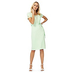 Racing Green - Light green lace v neck knee length dress