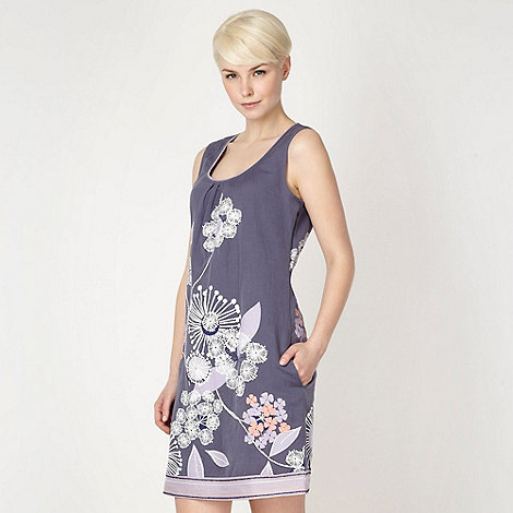 Mantaray - Purple floral applique linen blend dress
