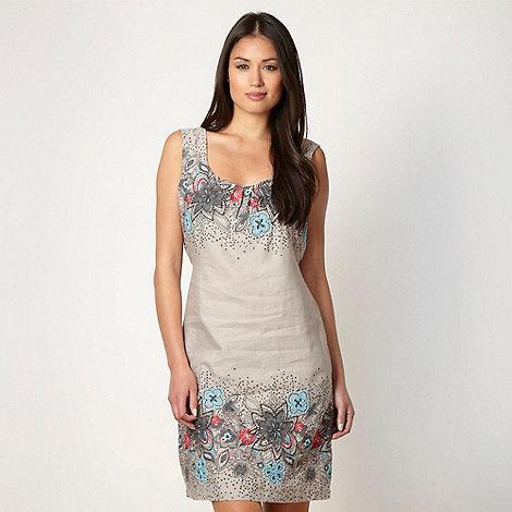 Mantaray - Grey floral broderie linen blend dress