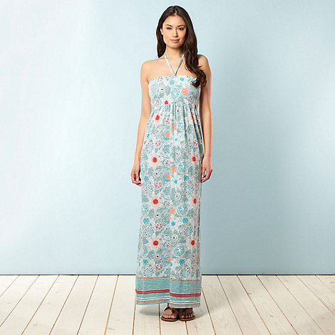 Mantaray - Light turquoise floral bandeau maxi dress
