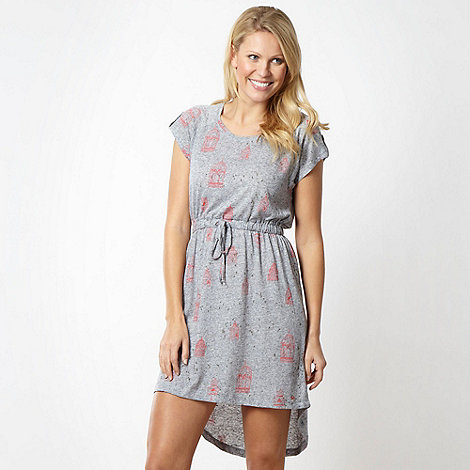 Mantaray - Grey birdcage print dipped hem dress