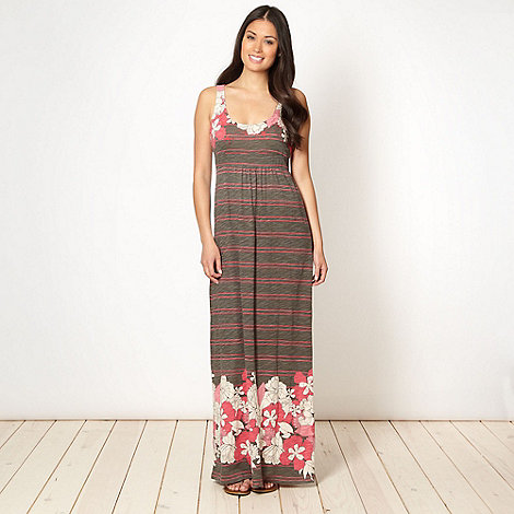 Mantaray - Grey floral border jersey maxi dress