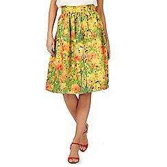 Racing Green - Orange floral print skirt
