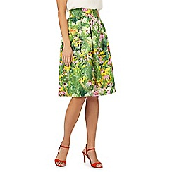 Racing Green - Green floral print skirt