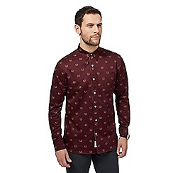Hammond & Co. by Patrick Grant - Dark red sateen fox print shirt