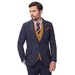 Hammond & Co. by Patrick Grant - Big and tall navy checked single breasted jacket with wool