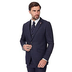 Hammond & Co. by Patrick Grant - Navy checked single breasted jacket with wool