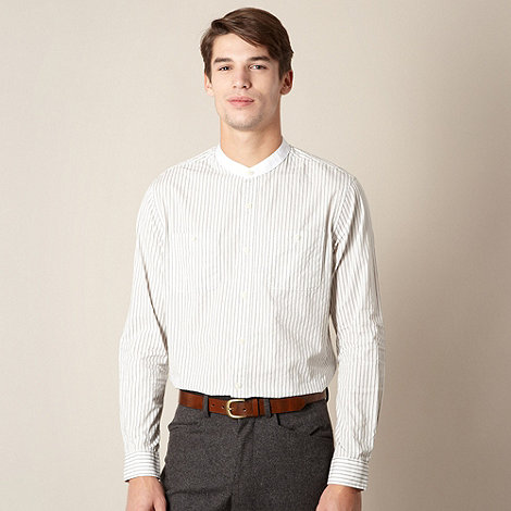 Hammond & Co. by Patrick Grant - Designer grey +Dobby+ stripe grandad collar shirt