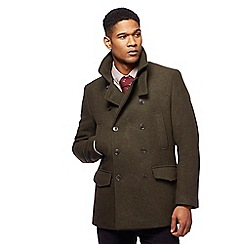 Hammond & Co. by Patrick Grant - Big and tall dark green double-breasted wool blend peacoat