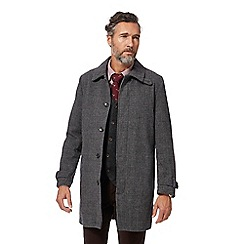Hammond & Co. by Patrick Grant - Big and tall dark grey prince of wales checked wool blend mac coat