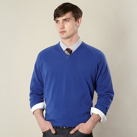Hammond & Co. by Patrick Grant - Designer blue lambswool V neck jumper