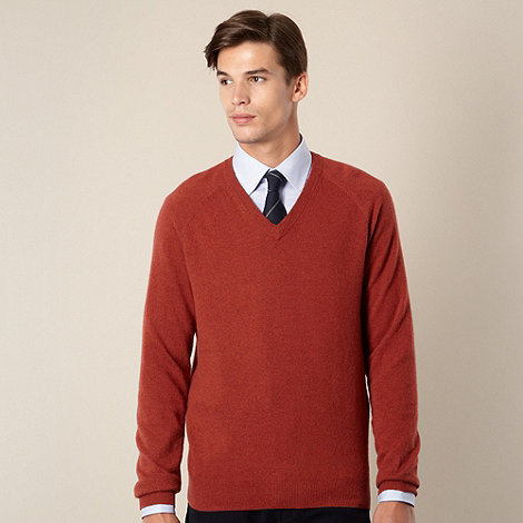 Hammond & Co. by Patrick Grant - Designer terracota lambswool blend v neck jumper