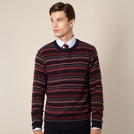 Hammond & Co. by Patrick Grant - Designer blue fairisle crew neck knit jumper