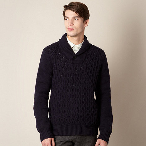 Hammond & Co. by Patrick Grant - Designer navy cable shawl jumper