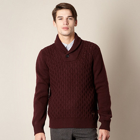 Hammond & Co. by Patrick Grant - Designer maroon cable shawl jumper