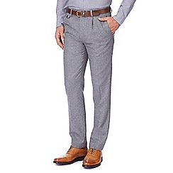 Hammond & Co. by Patrick Grant - Big and tall light grey wool blend prince of wales check trousers