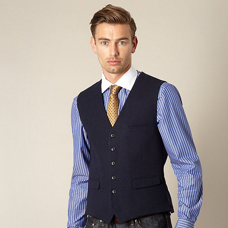 Hammond & Co. by Patrick Grant - Big and tall designer navy +Foundry+ hopsack waistcoat