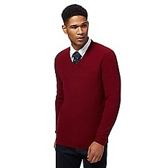 Hammond & Co. by Patrick Grant - Dark red textured V-neck lambswool rich jumper