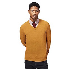 Hammond & Co. by Patrick Grant - Big and tall mustard textured v-neck jumper