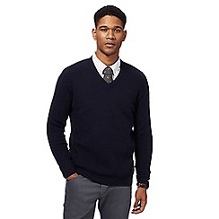 Hammond & Co. by Patrick Grant - Big and tall navy textured v-neck jumper