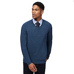 Hammond & Co. by Patrick Grant - Big and tall mid blue textured v-neck jumper