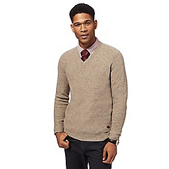 Hammond & Co. by Patrick Grant - Big and tall natural textured v-neck jumper