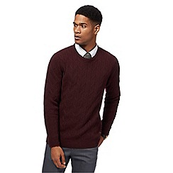 Hammond & Co. by Patrick Grant - Big and tall dark red cable knit jumper