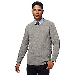 Hammond & Co. by Patrick Grant - Big and tall light grey cable knit jumper
