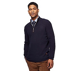Hammond & Co. by Patrick Grant - Big and tall navy zip neck lambswool rich sweater