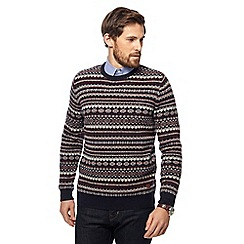 Hammond & Co. by Patrick Grant - Navy Fair Isle knitted crew neck jumper