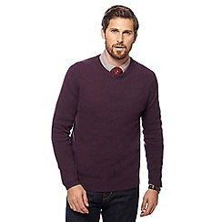 Hammond & Co. by Patrick Grant - Big and tall wine red crew neck merino cashmere blend jumper in a gift box