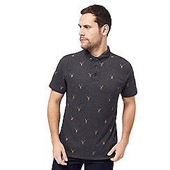 Hammond & Co. by Patrick Grant - Dark grey stag print polo shirt
