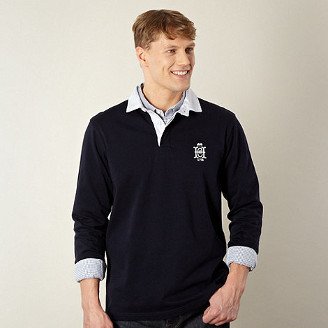 Hammond & Co. by Patrick Grant - Designer navy plain cotton embroidered rugby
