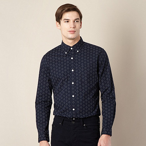 Hammond & Co. by Patrick Grant - Designer navy +Bruton+ dot print shirt