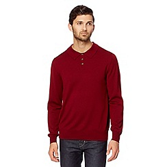 Hammond & Co. by Patrick Grant - Big and tall designer maroon 'Tilbury' long sleeve knitted polo