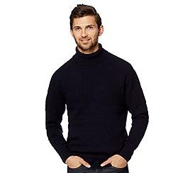 Hammond & Co. by Patrick Grant - Designer navy 'Capel' textured roll neck jumper
