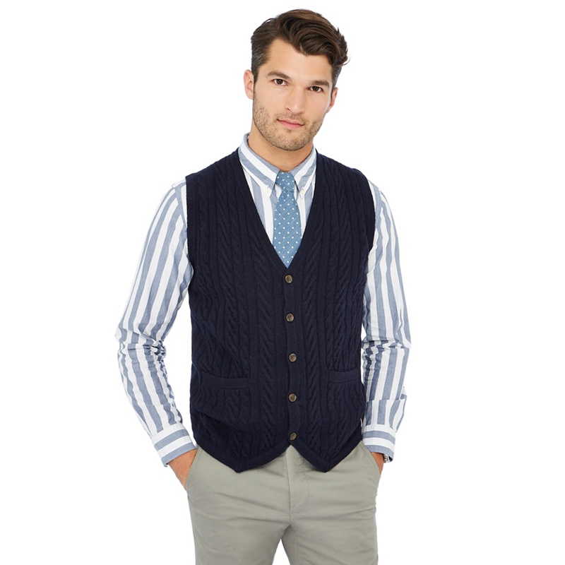 1b60ef4876a Hammond   Co. by Patrick Grant - Navy Cable Knit V-Neck Lambswool Rich  Waistcoat - £22.50 - Bullring   Grand Central
