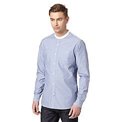 Hammond & Co. by Patrick Grant - Big and tall designer light blue 'Nevil' textured grandad shirt
