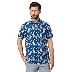 Hammond & Co. by Patrick Grant - Big and tall designer blue 'Weald' leaf print short sleeved shirt