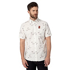 Hammond & Co. by Patrick Grant - Big and tall designer off white 'Laurel' kingfisher print shirt
