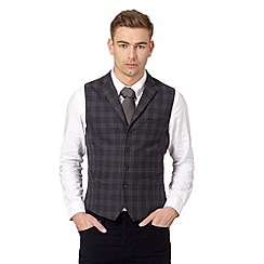 Hammond & Co. by Patrick Grant - Big and tall designer navy 'Carver' checked print waistcoat