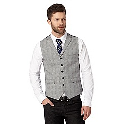 Hammond & Co. by Patrick Grant - Big and tall designer light grey 'Boswell' checked waistcoat