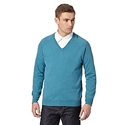 Hammond & Co. by Patrick Grant - Big and tall designer light turquoise v neck jumper