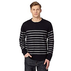 Hammond & Co. by Patrick Grant - Big and tall designer navy textured striped jumper
