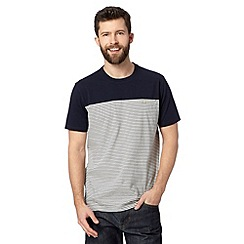 Hammond & Co. by Patrick Grant - Big and tall designer navy 'Abbey' striped panel t-shirt