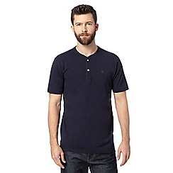 Hammond & Co. by Patrick Grant - Big and tall designer navy 'Rye' button neck t-shirt