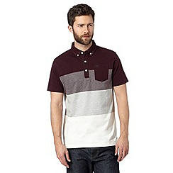 Hammond & Co. by Patrick Grant - Big and tall designer maroon block striped polo shirt