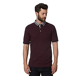 Hammond & Co. by Patrick Grant - Maroon striped collar polo shirt
