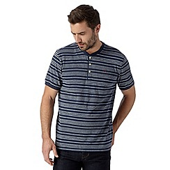 Hammond & Co. by Patrick Grant - Big and tall navy pique striped henley t-shirt