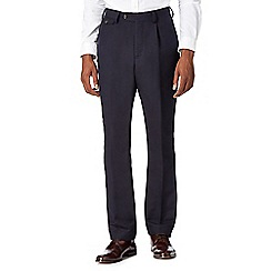 Hammond & Co. by Patrick Grant - Big and tall designer navy linen blend smart trousers